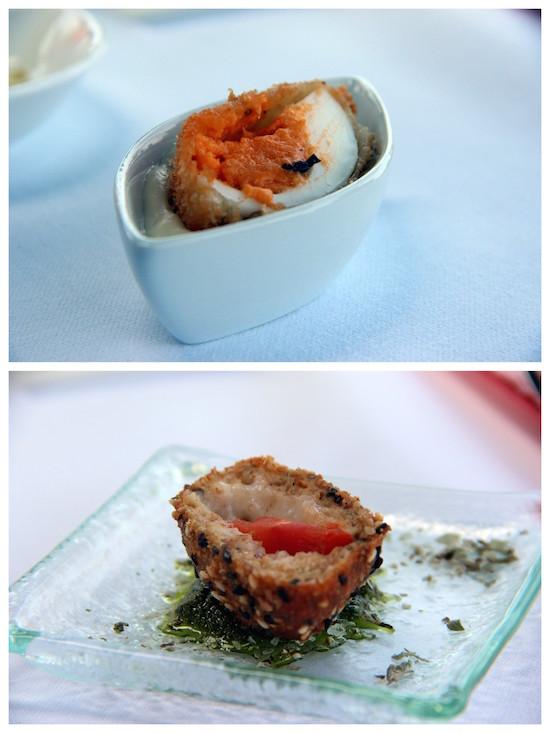 Uovo alla monachina con spuma di parmigiano - Mozzarella in carrozza panata nel sesamo e farcita con pomodoro, pesto di basilico