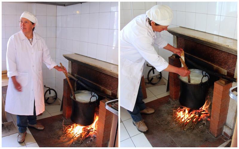 """La signora Carmela """"governa"""" il latte sul fuoco di legna e ne controlla la temperatura."""